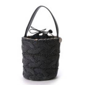 カカトゥ kakatoo アクリルウールケーブル編みカゴバッグ (グレーブラック)