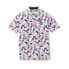 アダバット adabat レイブロックフラッグ刺繍ポロシャツ (ホワイト)
