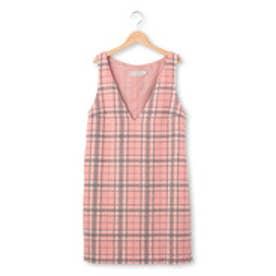 クチュール ブローチ Couture brooch シャギーチェックVネックジャンパースカート (ピンク)