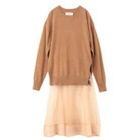 アクアガール aquagirl ◆MUVEIL ウールトップス+シルク吊りスカートSET (キャメル)