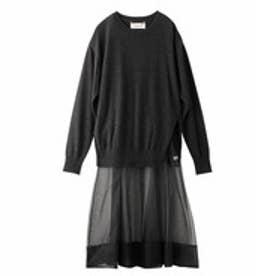 アクアガール aquagirl ◆MUVEIL ウールトップス+シルク吊りスカートSET (グレー)