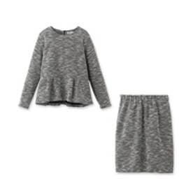 ボンメルスリー Bon mercerie ぺプラムトップス+スカート セットアップ (ブラック)