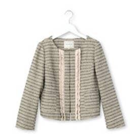 クチュール ブローチ Couture brooch フリルツイードノーカラージャケット (ベージュ系)
