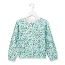 クチュール ブローチ Couture brooch フラワープリントコンパクトカーディガン (ライトブルー)