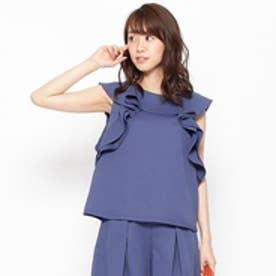 クチュール ブローチ Couture brooch フリルデザインプルオーバーシャツ (ブルー)