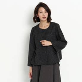 クチュール ブローチ Couture brooch ウール混ノーカラージャケット (チャコールグレー)