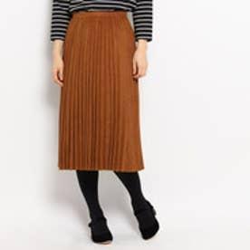 クチュール ブローチ Couture brooch スエード調プリーツスカート (ブラウン)