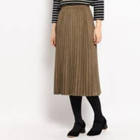 クチュール ブローチ Couture brooch スエード調プリーツスカート (ダークブラウン)