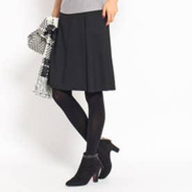 インディヴィ INDIVI 巻きスカート風スカート (ブラック)