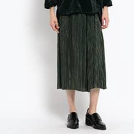 オゾック OZOC シャイニープリーツスカート (カーキ)