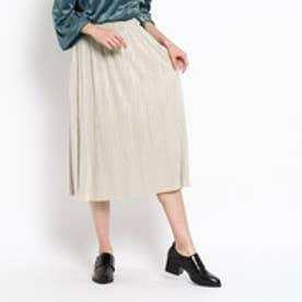 オゾック OZOC シャイニープリーツスカート (ベージュ)