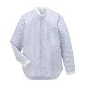 タケオ キクチ TAKEO KIKUCHI コットン/リネン ストライプスタンドカラー長袖シャツ (ホワイト)