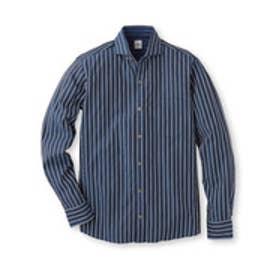 タケオ キクチ TAKEO KIKUCHI リバーストライプホリゾンタルシャツ (ブルー系)