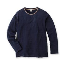 タケオ キクチ TAKEO KIKUCHI スラブ天竺カノコボーダー VネックロングTシャツ (ブルー系)