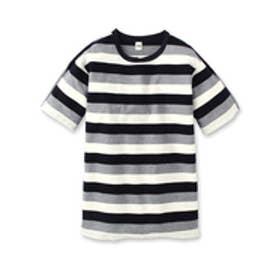 タケオ キクチ TAKEO KIKUCHI ヘリンボン柄パネルボーダー Tシャツ (ホワイト)