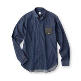 タケオ キクチ TAKEO KIKUCHI フラワープリントデニム オープンカラーシャツ (ブルー)