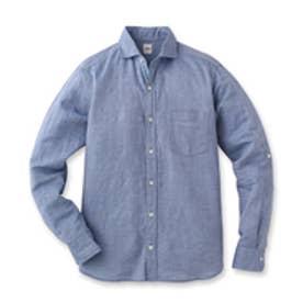 タケオ キクチ TAKEO KIKUCHI 綿麻ドビーシャンブレーシャツ (ブルー)
