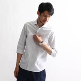 タケオ キクチ TAKEO KIKUCHI 刺し子ドット 七分袖シャツ (ホワイト)