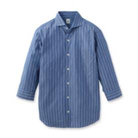 タケオ キクチ TAKEO KIKUCHI リバーシブルドビーストライプ 七分袖シャツ (ブルー)