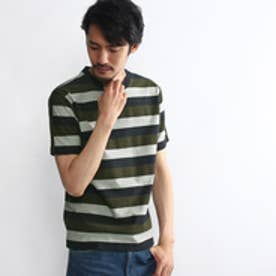 タケオ キクチ TAKEO KIKUCHI ヘリンボン柄パネルボーダー Tシャツ (カーキ)