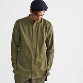 タケオ キクチ TAKEO KIKUCHI ビエラバンドカラーロングシャツ (ダークグリーン)
