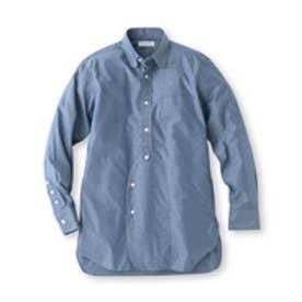 ザ ショップ ティーケー THE SHOP TK タブつきフロントデザインコットンシャツ (ブルー)