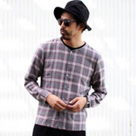 ティーケー TK ノーカラーチェックシャツ (ダークグレー)