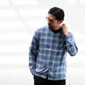 ティーケー TK ノーカラーチェックシャツ (ブルー)