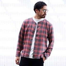 ティーケー TK ノーカラーチェックシャツ (レッド)