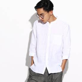 ティーケー TK フランダースリネン バンドカラー7分袖シャツ (ホワイト)