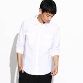 ティーケー TK フランダースリネン七分袖シャツ (ホワイト)