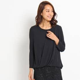 アンタイトル UNTITLED [L]エスポワールカシュクールサテンシャツ (ブラック)