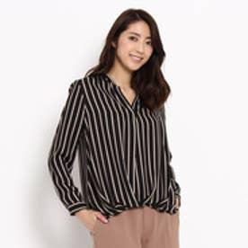 アンタイトル UNTITLED ストライプVネックシャツ (ブラック)