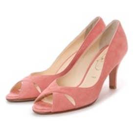 ワシントン靴店 Salon de washington 【大きめサイズ】クロスカッティングのオープントゥパンプス (ピンク)