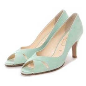 ワシントン靴店 Salon de washington 【大きめサイズ】クロスカッティングのオープントゥパンプス (ライトグリーン)