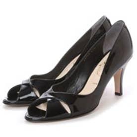 ワシントン靴店 Salon de washington 【大きめサイズ】クロスカッティングのオープントゥパンプス (ブラックエナメル)