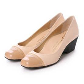 銀座ワシントン WASHINGTON Foot Happy エナメルトゥキャップ快適パンプス (ピンク)