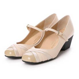 銀座ワシントン WASHINGTON【大きめサイズ】 Foot Happy 異素材ミックスの快適パンプス (ベージュ)