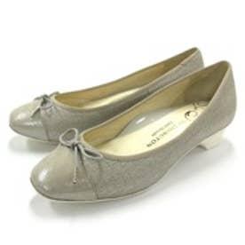 銀座ワシントン WASHINGTON【大きめサイズ】 Foot Happy 320-F23205L コンフォート仕様のリボン付きローヒールパンプス (シルバー)