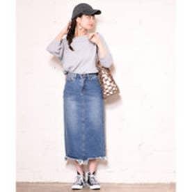 コカ coca 裾カットオフミモレ丈デニムスカート (Denim)