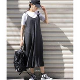 コカ coca 肩紐リボンドット柄ジャンプスーツ (Black)