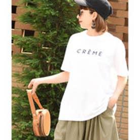 コカ coca ゆるシルエット5分袖ロゴカットソー (White)