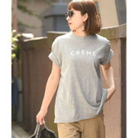 コカ coca ゆるシルエット5分袖ロゴカットソー (Gray)