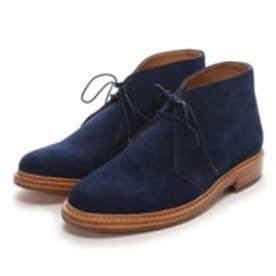 ロンドンシューメイク London Shoe Make グッドイヤーウエルトオールレザーハンドメイドスェードカントリーブーツ(ライトネイビー)