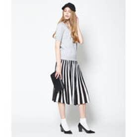 ティティベイト titivate ストライプニットミディアムスカート (ブラック/ホワイト)