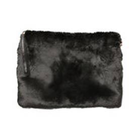 ティティベイト titivate チェーン取り外し可能フェイクファークラッチバッグ (ブラック)