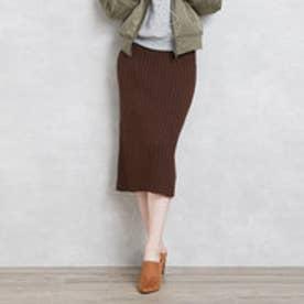 ティティベイト titivate ワイドリブニットタイトスリットスカート (ブラウン)