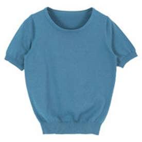 ティティベイト titivate ラウンドネック半袖コットンニット (ブルー)