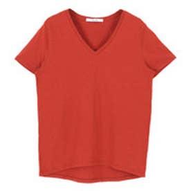 ティティベイト titivate オーガニックコットンVネックTシャツ (レッド)