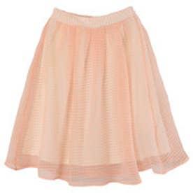 ティティベイト titivate 格子柄シフォンミモレスカート (ピンクオレンジ)